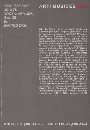 God. 33(2002), br. 1 : Arti musices