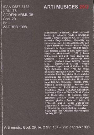 God. 29(1998), br. 2 : Arti musices