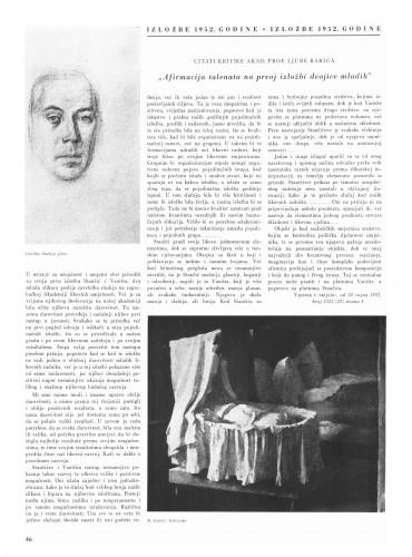 Izložbe 1952. godine : Bulletin Instituta za likovne umjetnosti Jugoslavenske akademije znanosti i umjetnosti