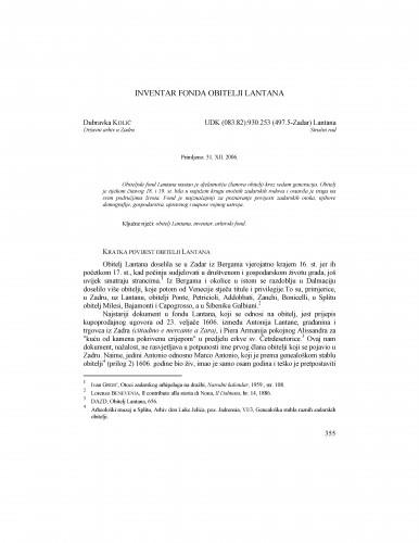 Inventar fonda obitelji Lantana : Radovi Zavoda za povijesne znanosti HAZU u Zadru