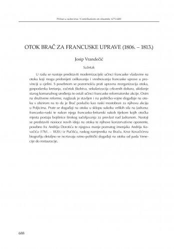 Otok Brač za francuske uprave (1806.-1813) : [prilog u sažetku]