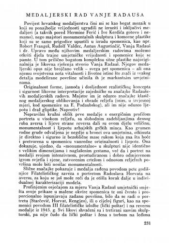 Medaljerski rad akademika Vanje Radauša : Bulletin Zavoda za likovne umjetnosti Jugoslavenske akademije znanosti i umjetnosti