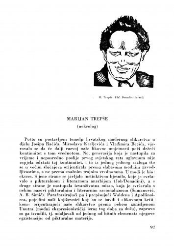 Marijan Trepše : (Nekrolog) : Bulletin Zavoda za likovne umjetnosti Jugoslavenske akademije znanosti i umjetnosti