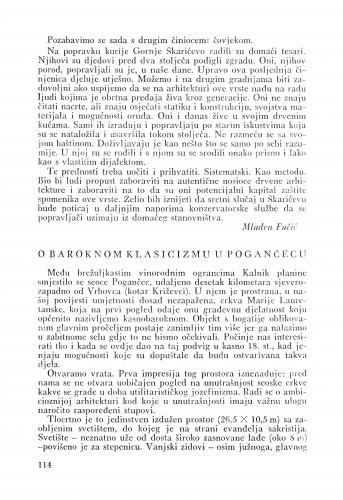 O baroknom klasicizmu u Pogančecu : Bulletin Odjela VII. za likovne umjetnosti Jugoslavenske akademije znanosti i umjetnosti