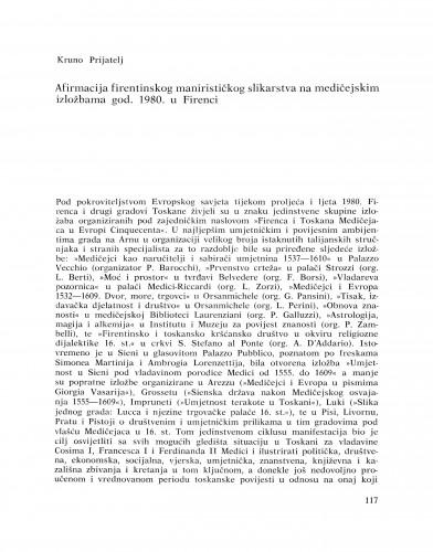 Afirmacija firentinskog manirističkog slikarstva na medičejskim izložbama god. 1980. u Firenzi : Bulletin Razreda za likovne umjetnosti Jugoslavenske akademije znanosti i umjetnosti