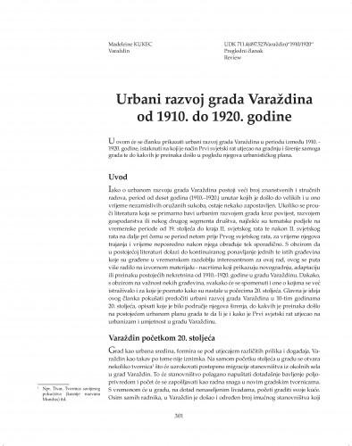 Urbani razvoj grada Varaždina od 1910. do 1920. godine : Posebna izdanja / Hrvatska akademija znanosti i umjetnosti, Zavod za znanstveni rad u Varaždinu