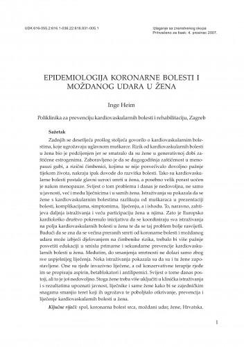 Epidemiologija koronarne bolesti i moždanog udara u žena : Posebna izdanja HAZU. Prilozi za strategiju hrvatskog razvoja