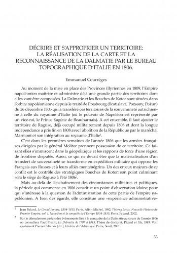 Décrire et s'approprier un territoire: la réalisation de la carte et la reconnaissance de la Dalmatie par le bureau topographique d'Italie en 1806