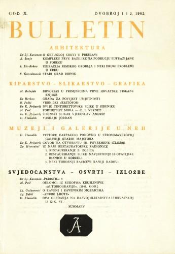 God. 10(1962), Br. 1-2 : Bulletin Zavoda za likovne umjetnosti Jugoslavenske akademije znanosti i umjetnosti