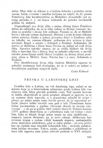 Freska u Labinskoj loži : Bulletin Instituta za likovne umjetnosti Jugoslavenske akademije znanosti i umjetnosti