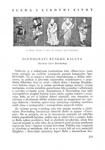 Scenografi ruskog baleta : (Sjećanja Igora Stravinskog) : Bulletin Instituta za likovne umjetnosti Jugoslavenske akademije znanosti i umjetnosti