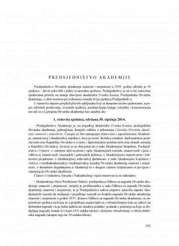 Izvješće o radu Hrvatske akademije znanosti i umjetnosti u godini 2014. : Ljetopis