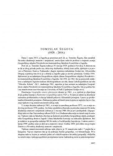 Tomislav Šegota (1929.-2014.) : [nekrolog] : Ljetopis