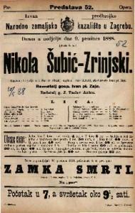 Nikola Šubić-Zrinjski Glasbena tragedija u 3 čina (8 slikah) / glasbotvorio Ivan pl. Zajc