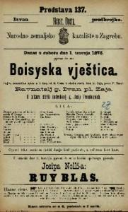 Boisysska vještica šaljiva romantična opera u 3 čina / u glasbu stavio Ivan pl. Zajc