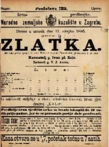 Zlatka Hrvatska pučka opera u tri čina / glasbotvorio I. pl. Zajc