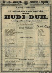 Hudi duh Lumpacius Vagabundus gluma s pjevanjem u tri čina i s predigrom / od I. Nestroya