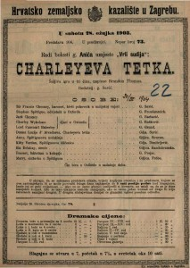 Charleyeva tetka šaljiva igra u tri čina / napisao Brandon Thomas