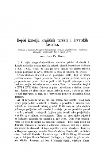 Dopisi između krajiških turskih i hrvatskih častnika / Franjo Rački