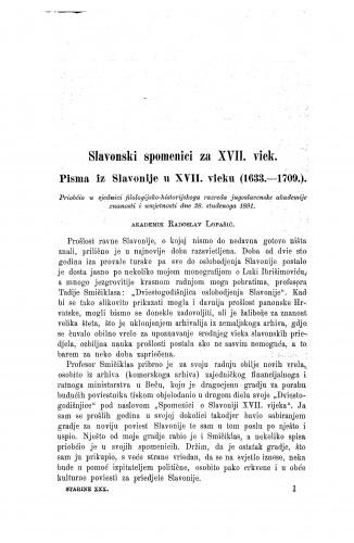 Slavonski spomenici za XVII. viek : pisma iz Slavonije u XVII. vieku (1633.-1709.) / Radoslav Lopašić