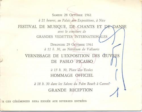 Službeni program proslave 80-tog rođendana Pabla Picassa s autogramima Lucie Bosè i L.M. Dominguína