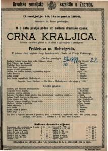 Crna kraljica Izvorna čarobna gluma u tri čina s pjevanjem i predigrom / napisao Josip Freudenreich