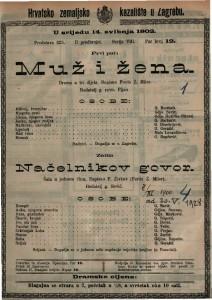 Muž i žena drama u tri dijela / napisao Ferdo Ž. Miler