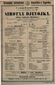 Sirotna djevojka : šala s pjevanjem u tri čina, a šest slika / od Krenna i Lindau-a  =  Ein armes Mädel
