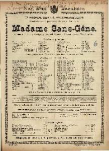Madame Sans-Gêne Gluma u 3 čina s predigrom / Napisali Sardou i Moreau