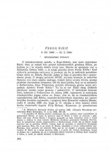 Ferdo Šišić : 9. III. 1869. - 21. I. 1940. : [nekrolog] / V. Novak