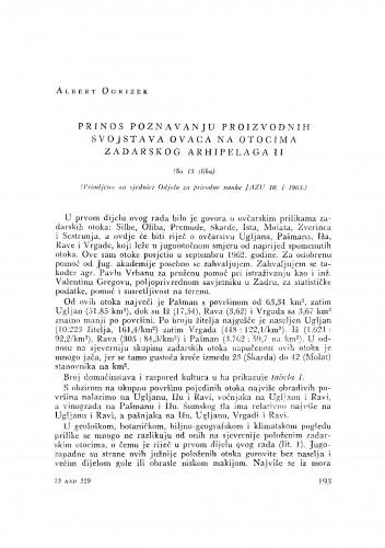 Prinos poznavanju proizvodnih svojstava ovaca na otocima Zadarskog arhipelaga II