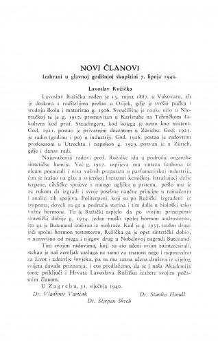 Lavoslav Ružička / V. Varićak, S. Hondl i S. Škreb