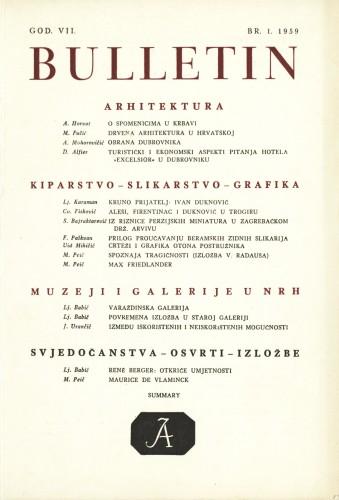 God. 7(1959), Br. 1 : Bulletin Instituta za likovne umjetnosti Jugoslavenske akademije znanosti i umjetnosti
