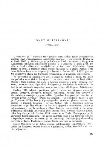 Ismet Mujezinović (1907-1984) : [nekrolozi] / N. Reiser