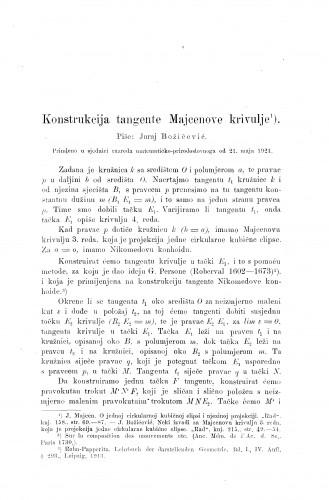 Konstrukcija tangente Majcenove krivulje