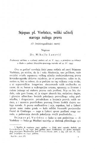 Stjepan pl. Verböcz, veliki učitelj staroga našega prava