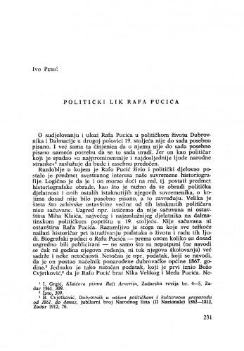 Politički lik Rafa Pucića