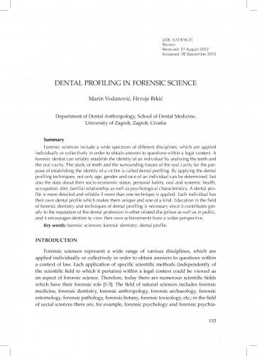 Dental profiling in forensic sciences