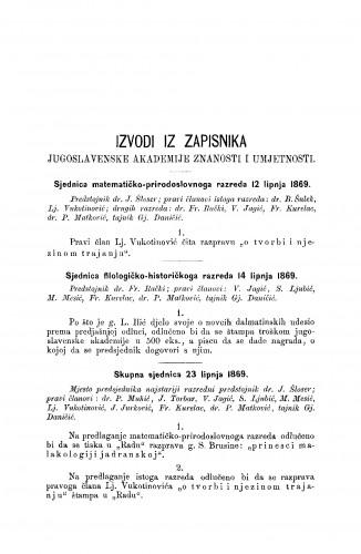 Izvodi iz zapisnika Jugoslavenske akademije znanosti i umjetnosti [1869] : RAD