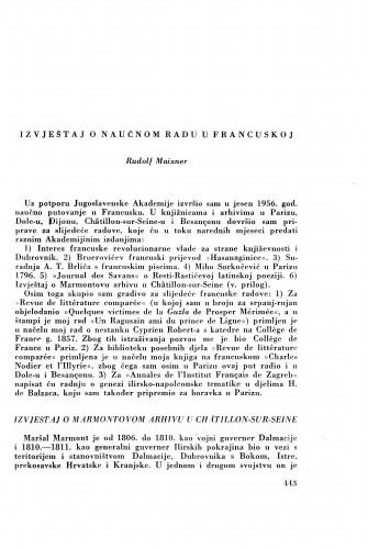 Izvještaj o naučnom radu u Francuskoj / R. Maixner
