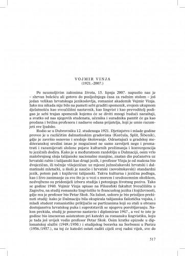 Vojmir Vinja (1921.-2007.) : [nekrolog] : Ljetopis