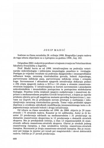 Josip Madić : Ljetopis