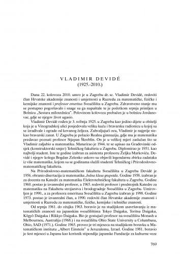 Vladimir Devide (1925.-2010.) : nekrolog : Ljetopis