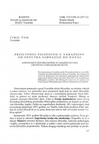 Prisutnost filozofije u Varaždinu od osnutka gimnazije do danas : Radovi Zavoda za znanstveni rad Varaždin