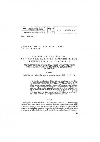 Distribucija aktivnosti dehidrogenaza u toku diferencijacije predželudaca fetusa goveda