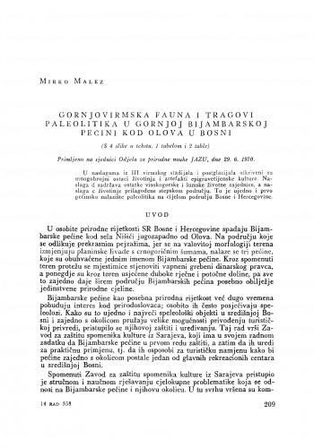Gornjovirmska fauna i tragovi paleolitika u Gornjoj Bijambarskoj pećini kod Olova u Bosni