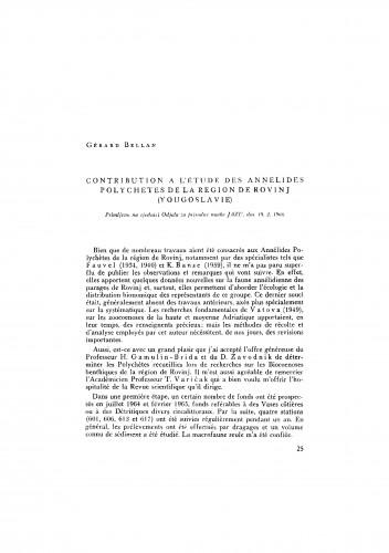 Contribution á l´étude des Annelides Polychetes de la region de Rovinj (Yougoslavie)