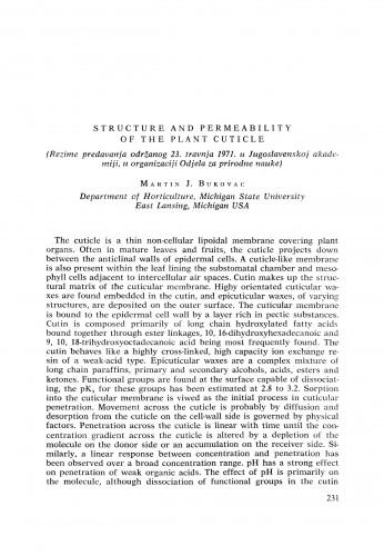 Structure and permeability of the plant cuticule : [izvještaji i rasprave] / M. J. Bukovac