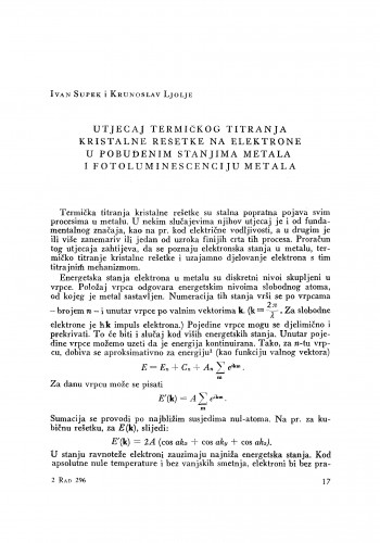 Utjecaj termičkog titranja kristalne rešetke na elektrone u pobuđenim stanjima metala i fotoluminescenciju metala
