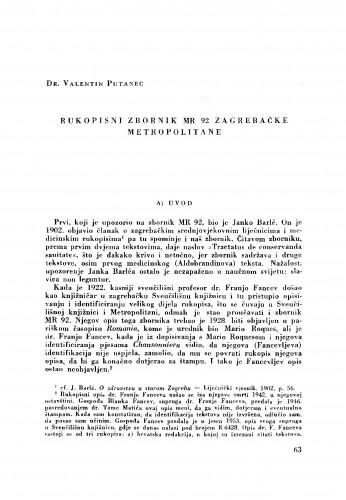 Rukopisni zbornik MR 92 zagrebačke Metropolitane